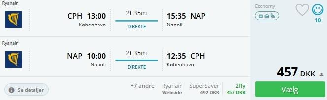 Flybillet til Napoli