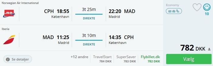 Flybilleter til Madrid