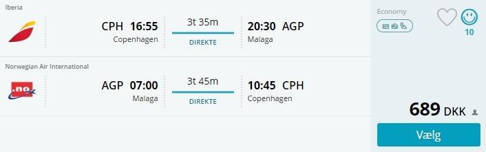 Fly til Malaga