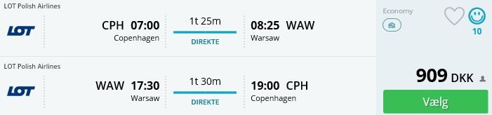 Fly til Warszawa Polen